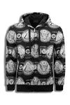 NEW Men Dollar Sign Jacket Pyramid Triangle Eye Zip Up Hooded Long Sleeve Shirt