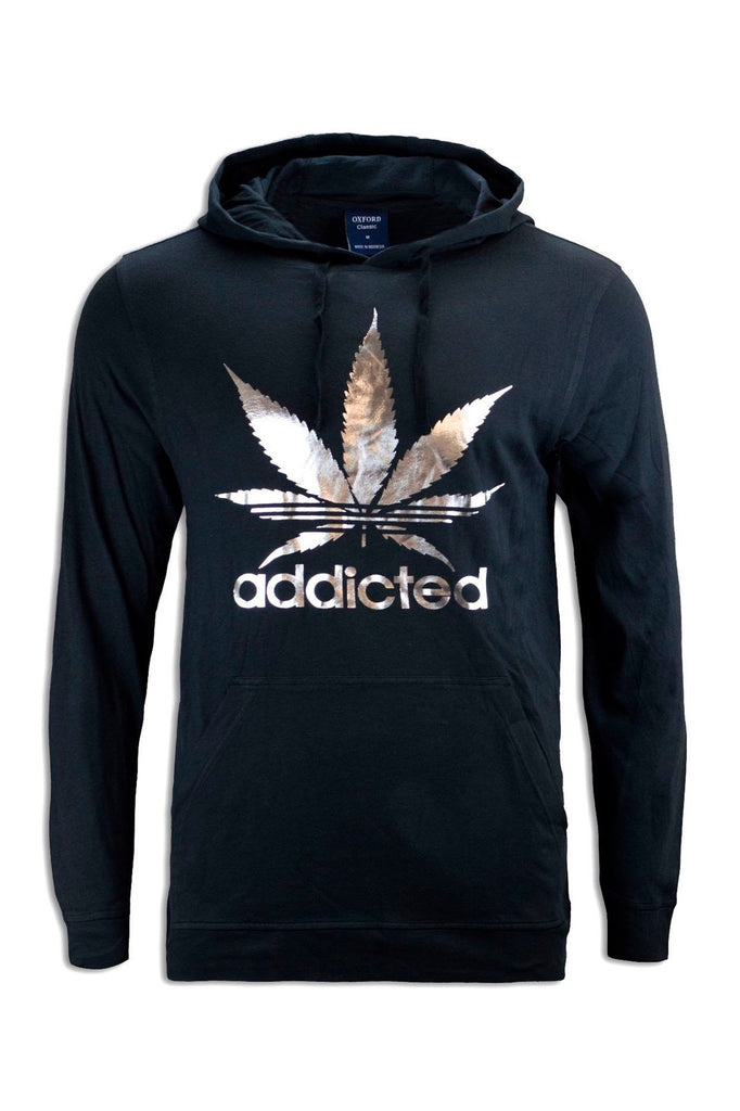 NEW Men Sweater Weed Hooded Long Sleeve Shirt Pullover Black Cannabis