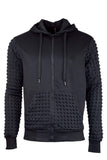 New Men Quilted Black Jacket Zipper Hooded Sweater Long Sleeve
