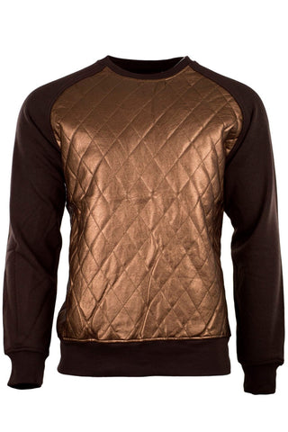Fleece Crewneck Gold Leather Long Sleeve Pullover