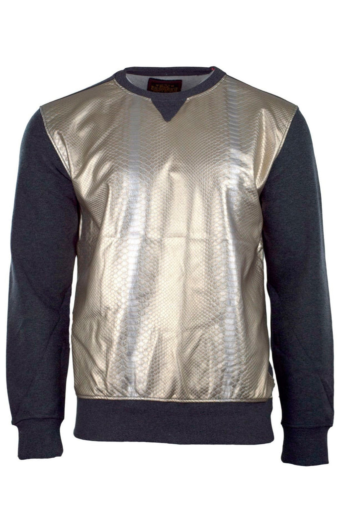 Men Fleece Crewneck Gold Snake Skin Long Sleeve Quilted Sweater Pull over M-3XL