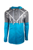 Men Hooded Jewel House Blue Long Sleeve Shirt Hooded Shirt 2 tone Blue Gray