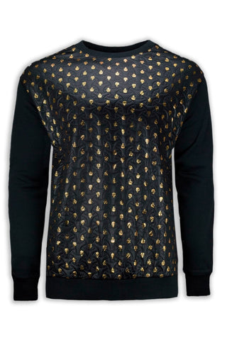 NEW Men Crewneck Golden Skulls Long Sleeve Fleece M-2XL Black Gold Crewneck