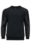 NEW Men Long Sleeve Shirt Sweater Fleece FAUX Snake Skin Print Black Pullover