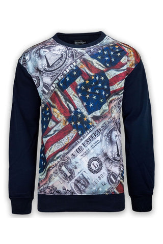 NEW Men Sweatshirt Long Sleeve Sweater Fleece  Money Cash USA BIG & TALL