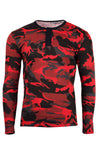 Red Camouflage Henley Long Sleeve Shirt