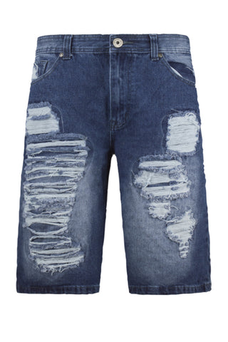 NEW Men Ripped Denim Shorts Blue Distressed Patched Up Short Sizes 30-38