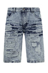 NEW Men Denim Blue Ripped Shorts Distressed Regular Fit Acid Wash Sizes 32-42