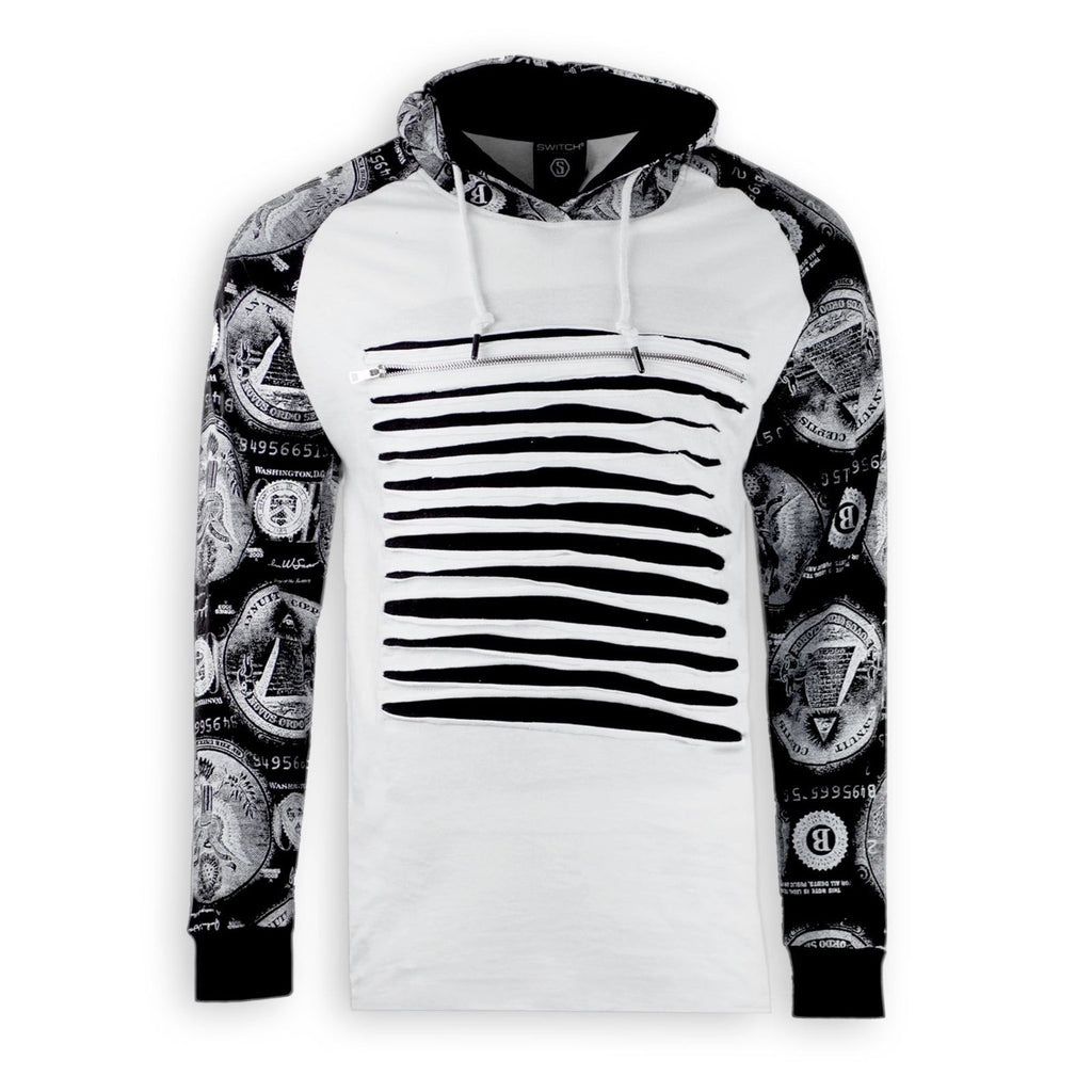 NEW Men Long Sleeve Hooded Cash Dollar Money 2 Tone Sweater Shirt Chest Ripped