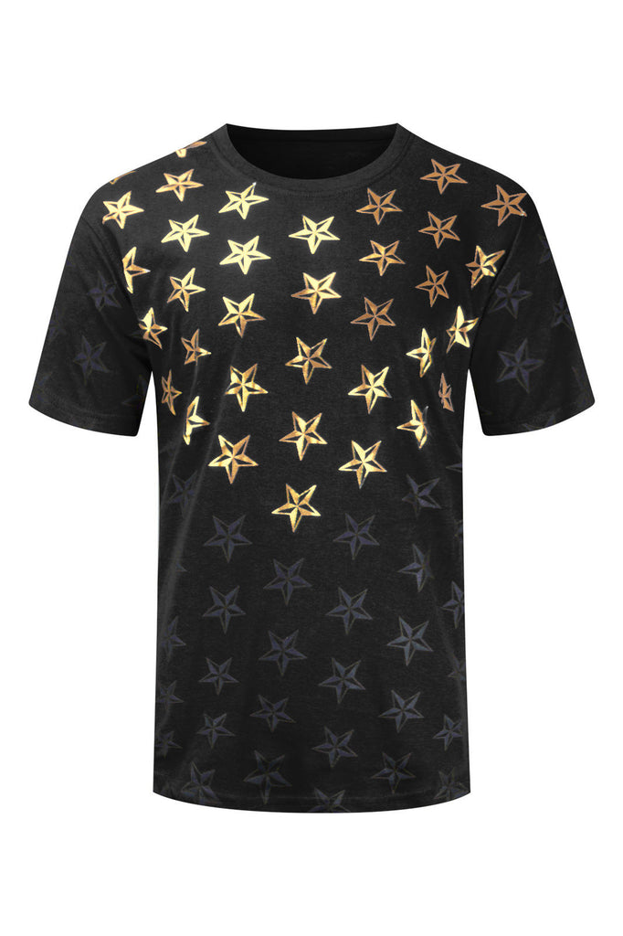NEW Men Stars Gold Foil Shirts 7 Colors Short Sleeve Sizes Sizes S-2XL Famous