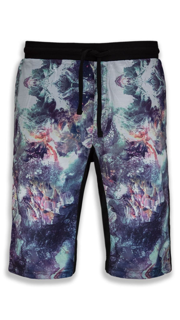 NEW Men Marble Fleece Printed Shorts Black Brown Art Abstract ALL SIZES