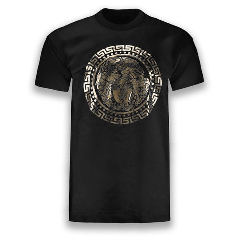 NEW Men Medusa Shirt Gold Foil Print Short Sleeve Heavy Duty Shirts Sizes L-4XL