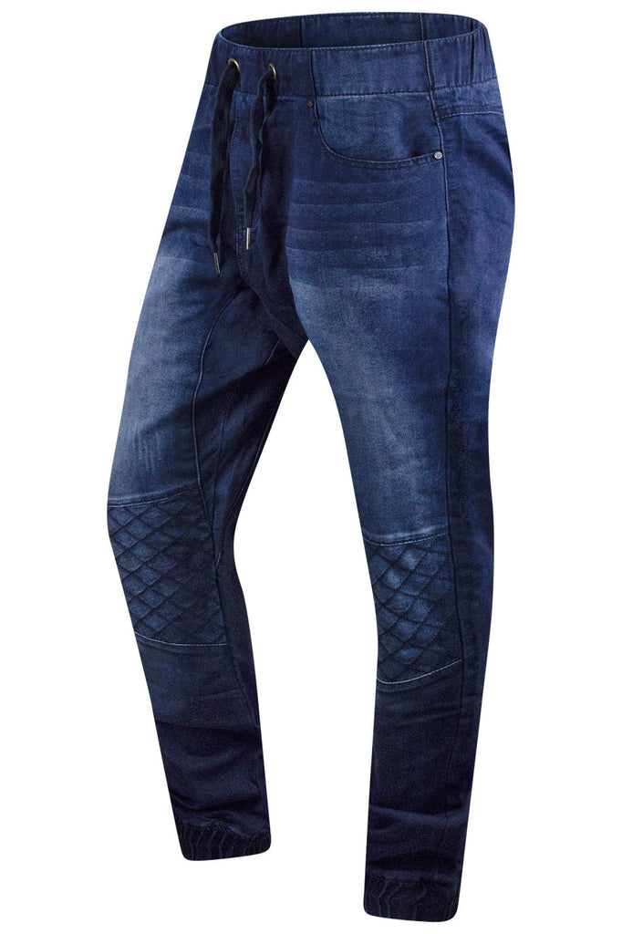 New Men Denim Quilted Jogger Elastic Jeans