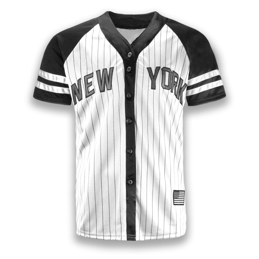 NEW Men New York Yankees Jersey Gray White Black Button Up Shirt USA S-2XL c454f7c7dce