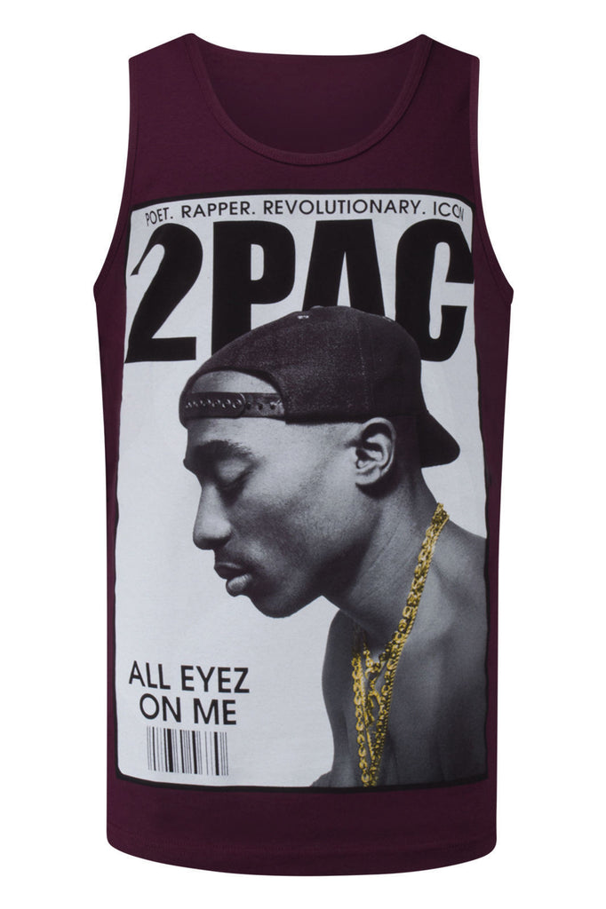 NEW Men Tupac Tank Top Shirt Burgundy 2Pac M-3XL Poet Rap Music All Eyes On Me
