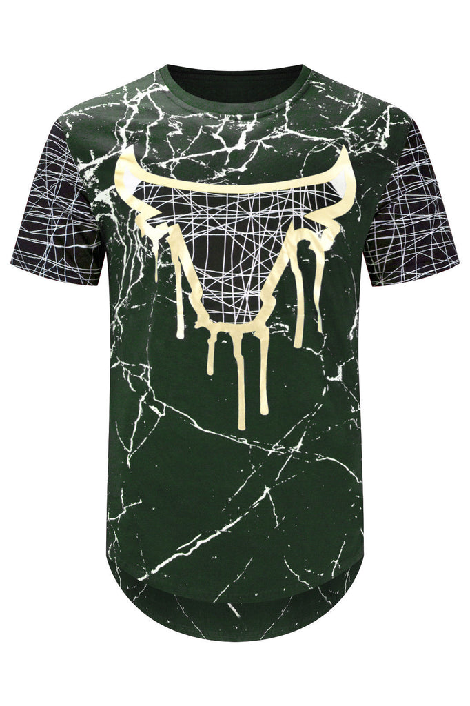 New Men Bulls Gold Longline Gold Foil T-Shirt