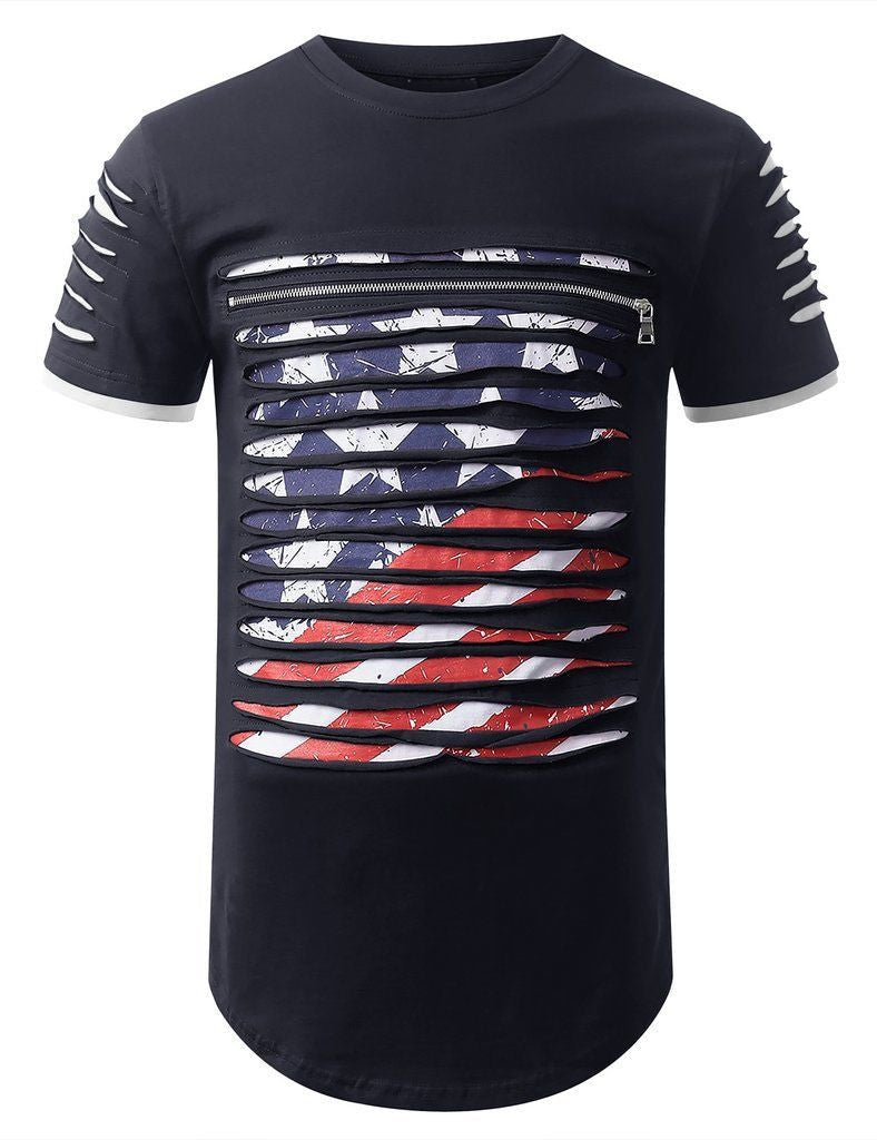 Men American Ripped Longline Tee Chest Zipper 4 Colors Shoulder Rips Sizes S-2XL