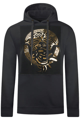New Men Medusa Gold Foil Print Hoodie