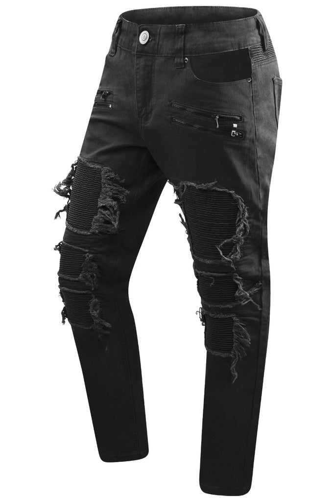 New Men Denim Premium Biker Ripped Jeans