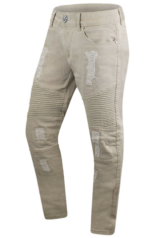 Tan Premium Denim Biker Distressed Jeans