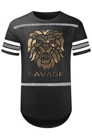 New Men Savage Lion Gold Print T-Shirt