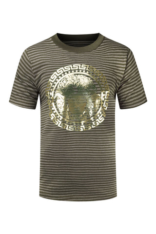 NEW Men Medusa Striped Gold Foil Shirt Sizes S-3XL Short Sleeve 3 Colors