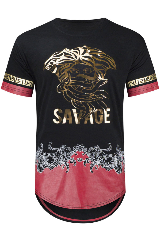 New Men Medusa Tribal Gold Foil Print T-Shirt