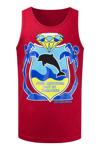 NEW Men Dolphin Tank Top Paradise Boom Boom Sleeveless 4 Colors Sizes S-2XL