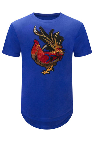New Embroider Rooster Patch T-Shirt