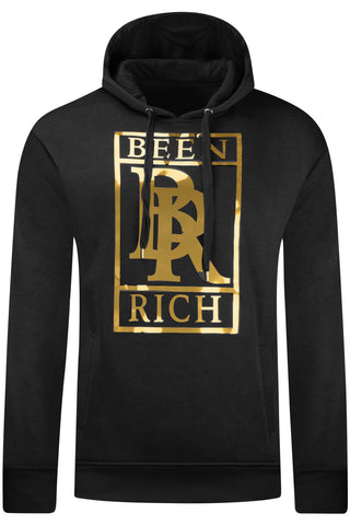 New Men Richer Gold Foil Hooded Sweater