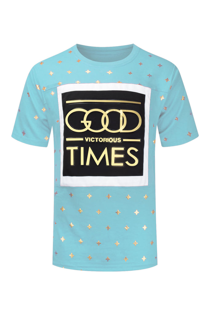 NEW Men Good Times Vibes 3D Design Print Gold Silver Foil Sizes S-2XL Stars