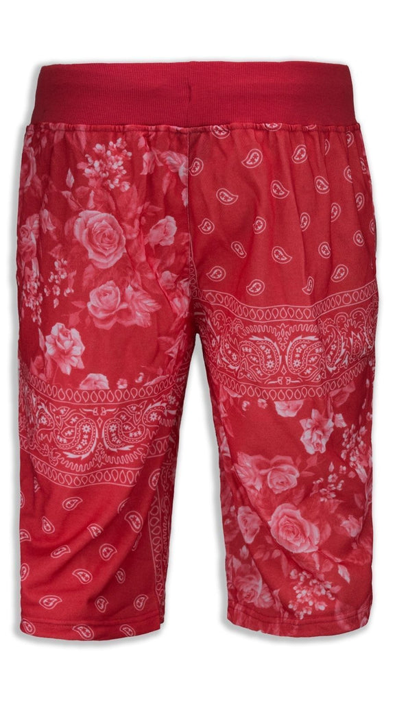 NEW Men Red Bandana French Terry Shorts Drawstrings Elastic Floral Print