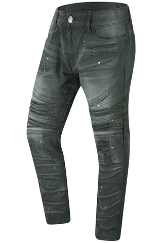 New Men Biker Paint Splatter With Zipper Denim Jeans