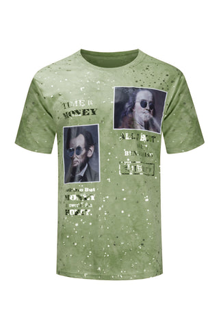 NEW Men Benjamin Franklin President Lincoln Hip Hop Paint Splatter Gold Foil