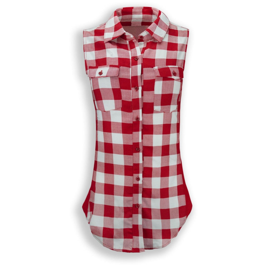 NEW Ladies Women Flannel Sleeveless Biker Button Down Shirt Plaid Plade S-L