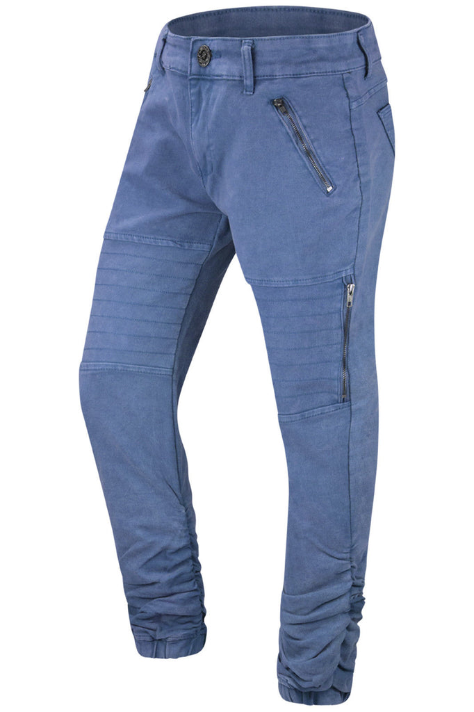 New Men Biker Denim Crunched Jeans Stretchy Fabric