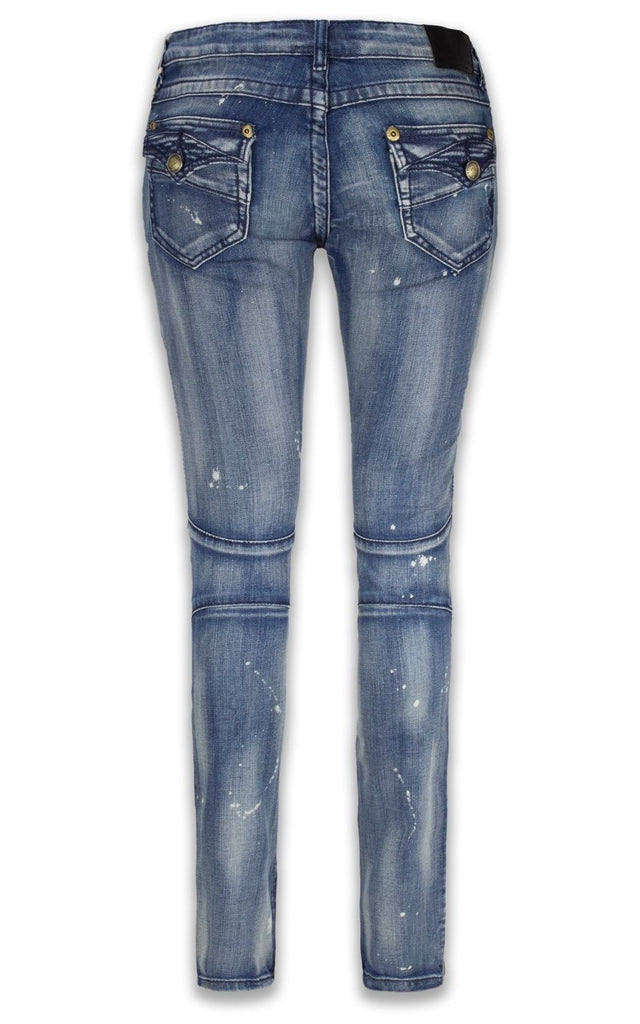 NEW Women Ladies Biker Denim Jeans Stacked Paint Splattered ALL SIZES Black Blue