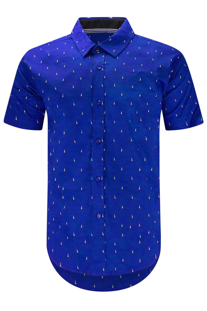 New Men Stretchy Button Up Shirt Boat Print Slim Fit