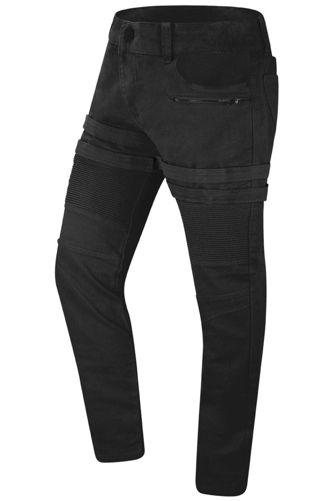 New Men Velcro Biker Denim Stretchy Denim Jeans