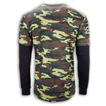 NEW Men Ripped Long Sleeve Shirt Chest Zipper Camo Gray Longline Pullover