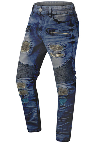 New Men Biker Camo Distressed Jeans