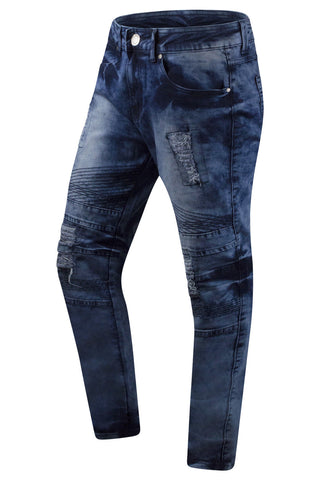 New Men Slim Fit Distressed Biker Jeans
