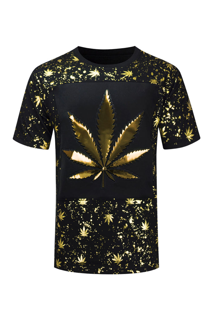 NEW Men Weed 3D Design Paint Splatter Marijuana Short Sleeve Shirt Sizes S-2XL