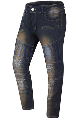 New Men Denim Rust Blue Premium Biker Jeans Original Fit