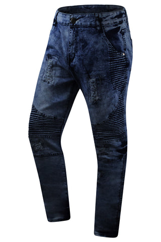New Men Premium Biker Denim Jeans Slim Fit