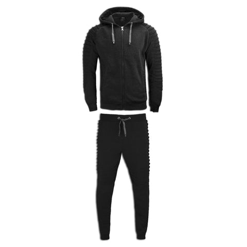 NEW Men Biker Double Needle Stacked Fleece Sweatsuit