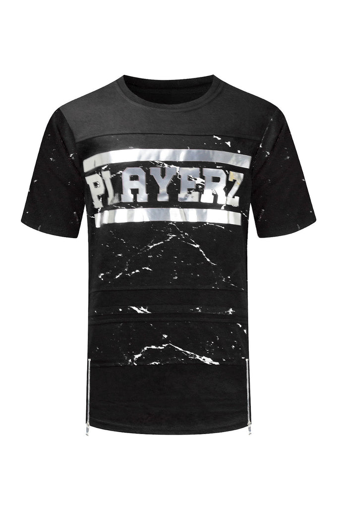 NEW Men Players 3D Design Gold Silver Foil Print Side Zipper Paint Splatter S-2X