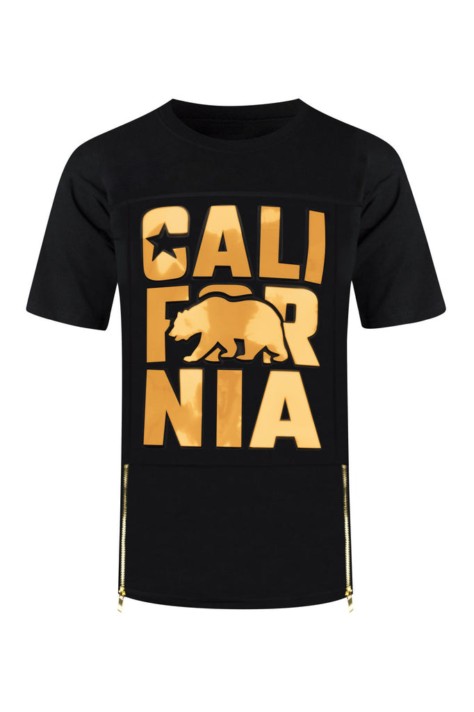 NEW Men Cali 3D Design Gold Foil Shirt Silver Black Side Zipper Sizes S-2XL