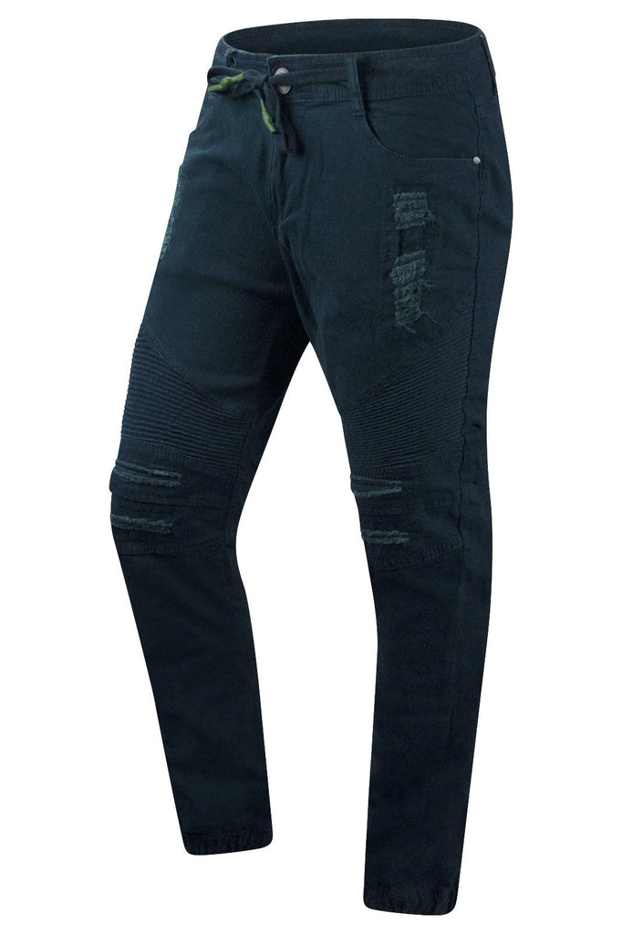 New Men Ripped Denim Slim Fit Joggers
