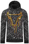 New Men Bulls Pullover Painted Hoody